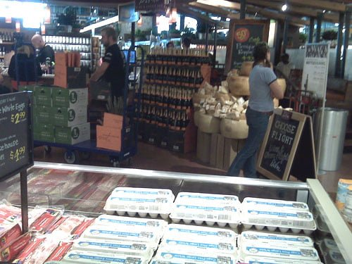 It's hard to see, but this is the wine and cheese bar. There's seating behind the service area.