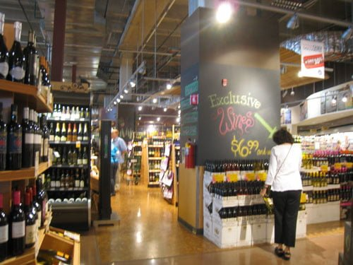 Another shot of the wine area. Who says Whole Foods is too expensive? Bottles of wine for $6.99