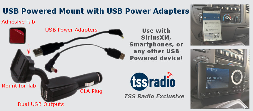 SiriusXM Satellite Radio USB Power Adapter Mount Bundle (5 inch)