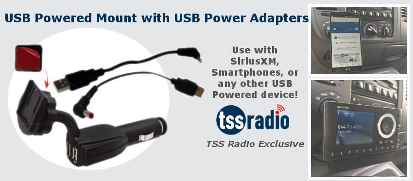 USB Powered Mount with USB Power Adapters!