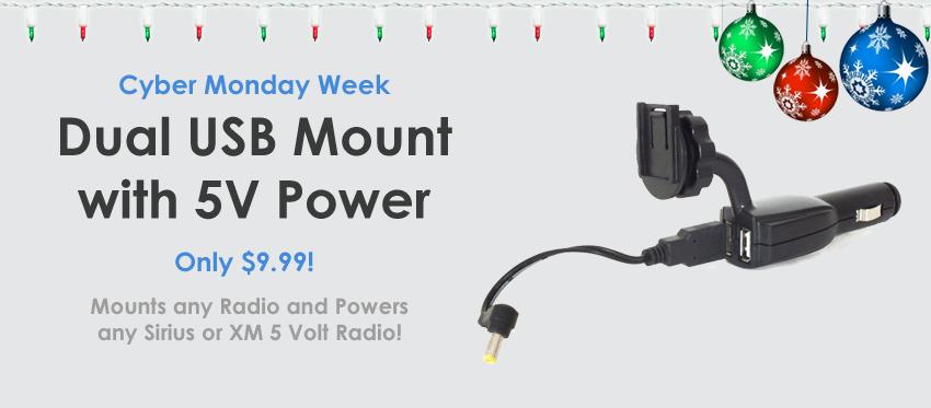 Dual USB Mount with 5V Power for Sirius, XM, SiriusXM